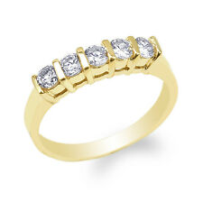 JamesJenny 10K Yellow Gold Round CZ Simple Fancy Anniversary Band Ring Size 4-10
