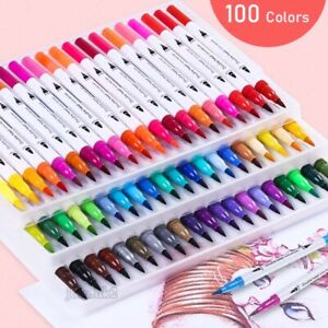 100 Colours Watercolour Brush Pens Set Dual Tips Soft Fine Art Markers Drawing