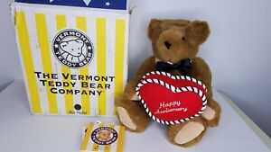 """VERMONT TEDDY BEAR Happy Anniversary Jointed Bear Heart with original box 15"""""""