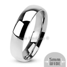 5mm Wide Stainless Steel 316L Classic Comfort Fit Wedding Ring Band Size 5-13