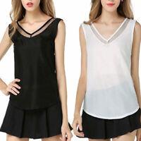 Women Loose Sleeveless V-Neck Black White Chiffon Blouse T-shirt Vest Tank Top