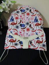 Babyhood bouncer liner-Australiana animals,white-Funky babyz,Australian made