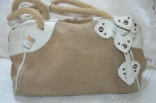 "Mui Mui Natural Burlap/White Leather Flowers Satchel 14"" Handbag made in Italy"