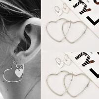 1 Pair Women Heart Big Earrings Hip-Hop 925 Silver Dangle Ear Studs Jewelry