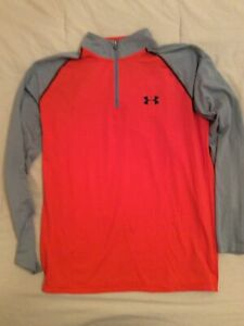 MENS UNDER ARMOUR HEAT GEAR SIZE SMALL LOOSE FIT POLYESTER 1/4 ZIP ORANGE GRAY