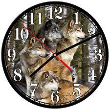 "8"" WALL CLOCK - Wolf 16 Wolves Spiritual - Kitchen Office Bathroom Bar Bedroom"
