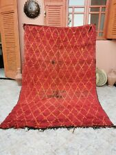 Moroccan vintage handmade rug Berber Tribal Rug Beni Ourain Wool Brown Rug 5 x 7