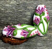10pcs handmade Lampwork glass white pink flower beads 15*30mm