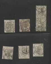 Great  Britain  #86 pl 17 & 18  7 used stamps most perfins          MS0118