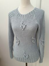 Unbranded Ladies Size 10 12 Blue Grey Hand Knit Jumper Autumn Fashion Wear Sweat