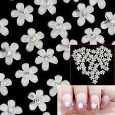 10pcs White Flower Shiny Rhinestone Decor Nail Art Tips Manicure Clear Lady Girl