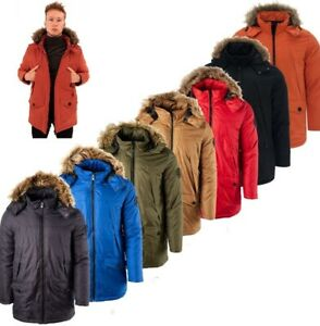 New Mens Longline Parka Jackets Puffer Padded Hooded Winter Coat Zip Top winter