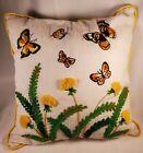 Vintage Crewel Pillow, Butterflies And Poofy Dandelions, Summer Day Memories!