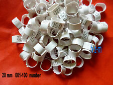 001-100 Numbered White Chicken Leg Bands 20mm Chicken Rings