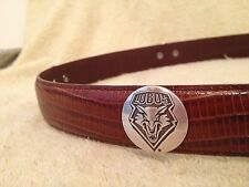 Lobos Wolf Snake Skin Brown Leather Belt Size 32 University of New Mexico  32aaa