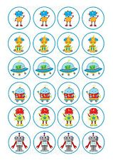 24 Edible cake toppers decorations Robots cute friendly party