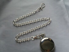 NEW HAND-MADE SILVER PLATED POCKET WATCH CHAIN: 4URBELT CROSS LINK-USA SELLER
