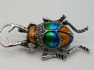 Stag Beetle Brooch Insect Scarab Quirky Cute Bling Bug Gold & Green Enamel