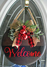 Decorated Round Wood Christmas Welcome Door Hanger Sign Wall Hanger GIFT