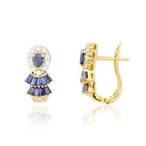 Earrings Diamond Blue Sapphire Gold 18K Yellow Authentic Woman Jewelry Ornament
