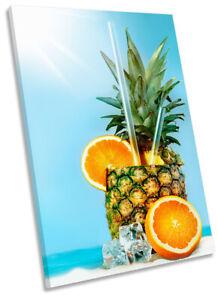 Pineapple Fruit Cocktail Picture CANVAS WALL ART Portrait Print Blue