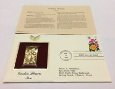 Garden Flowers Rose Stamp, April 28, 1994 FDC and 22kt gold replica