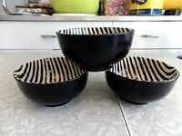 "JOSEPH ABBOUD CHINA 3 PC. SOUP BOWL SET in the POPULAR ""ZEBRA"" PRINT PATTERN"