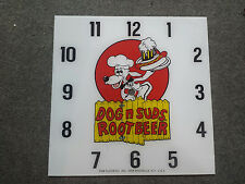 "*NEW* 15"" DOG AND SUDS ROOTBEER SODA DINER GLASS replacement clock FACE FOR PAM"