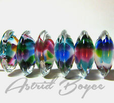 Glass Beads Rainbow Disks-Artisan Lampwork Beads-SRA B-195