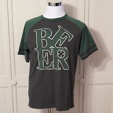 Lucky Tee Shirt Graphic Green Black Beer Shamrock Irish Size Large -A