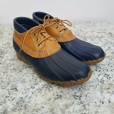LL Bean Maine Hunting Shoe Womens 8 Blue Brown Rubber Duck Ankle Lace Up