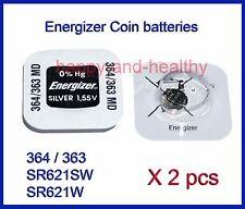 Energizer SR621SW / W (364 / 363) Silver Oxide button Battery x 2 pcs FREE Post