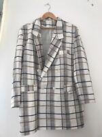Ladies Jacket Fashion Extra Size L Cream Check <JJ3866