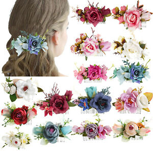 Women's Flower Hair Clips Slide Pins Comb Wedding Floral Hair Accessories Party