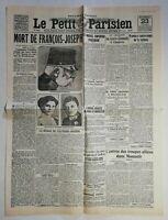 N964 La Une Du Journal Le petit Parisien 23 novemb 1916 mort de François Joseph