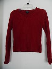 Women's One Step Up Red V Neck Sweater  Size M