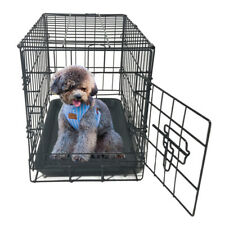 """Small Dog Kennel Crate 20"""" Folding Pet Cage Metal 2 Doors With Tray Pan JR"""
