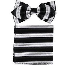 New in box formal Men's Diamond Shape Pre-tied Bow Tie & Hankie Black White