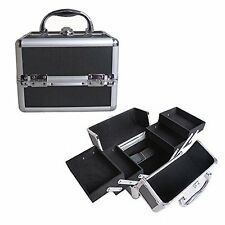 "8"" Pro Aluminum Makeup Train Case Jewelry Box Cosmetic Organizer Black 4 Trays"
