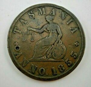 Australia 1855 Tasmania - Melbourne E. DE CARLE & Co. Auctioneer Token, copper