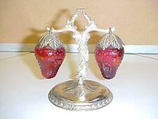 Vintage Red Glass STRAWBERRY Salt &Pepper SHAKERS Hanging on Silver Plated Tree