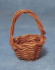 Small Dark Brown Shopping Basket, Dolls House Miniatures.