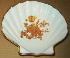 LIMOGES FRANCE CLAM SHELL SCALLOP GOLD ROSE FLOWERS PORCELAIN CANDY TRAY DISH