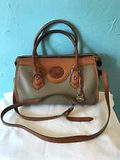 VTG Dooney & Bourke AWL Doctor Satchel Bag Taupe Tan Leather
