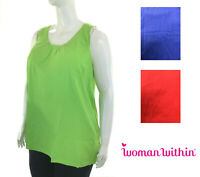 New! WOMAN WITHIN plus size sleeveless cotton tee w/ gathered neckline