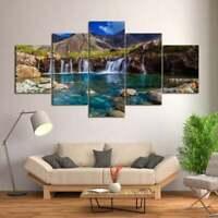 Multi Panel Print Mountain Waterfall Canvas Wall Art Rocky Spring Lake 5 Piece