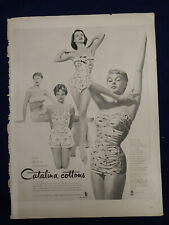 VTG 1954 Original Magazine Ad CATALINA Cottons Active Swimsuits BW One Piece