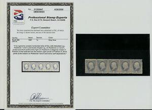 1881 US Stamp Scott 206 1cent  5 Strip. GRAY BLUE.UNUSED PSE