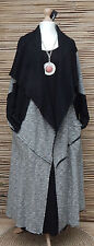 LAGENLOOK*Bane'*OVERSIZE AMAZING QUIRKY 2 POCKETS COAT*GREY MARL/BLACK*Size L-XL