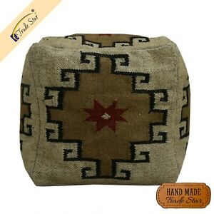 "Ethnic Vintage Kelim Jute Seating Pouf Cover 18"" Room Decor Ottoman Pouffe Case"